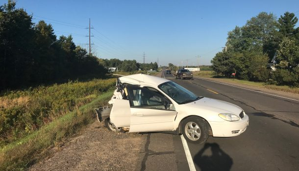 CRASH SENDS 3 TO HOSPITAL