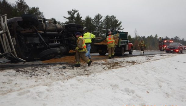 DIESEL FUEL SPILL CLOSES HIGHWAY
